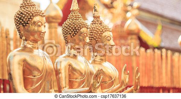 doré, asie, chiang, bouddha, mai, thaïlande, temple - csp17637136