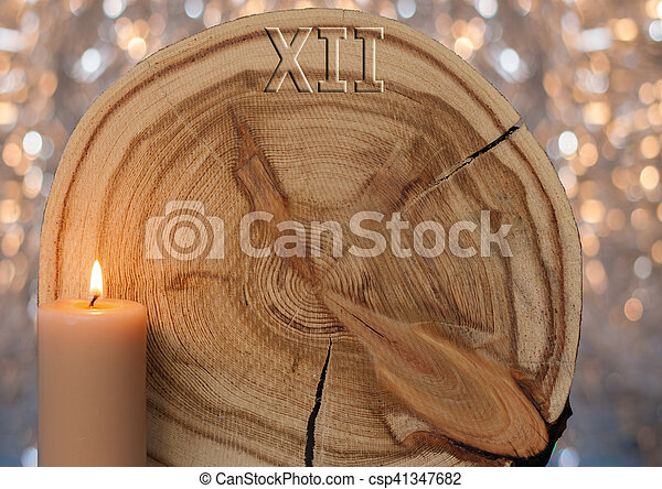 doré, cadran, coupure, formulaire, arrière-plan., mélèze, bokeh, clocks, flamme, bougie, scie - csp41347682