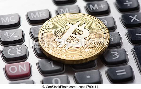 doré, calculatrice, bitcoin - csp44799114