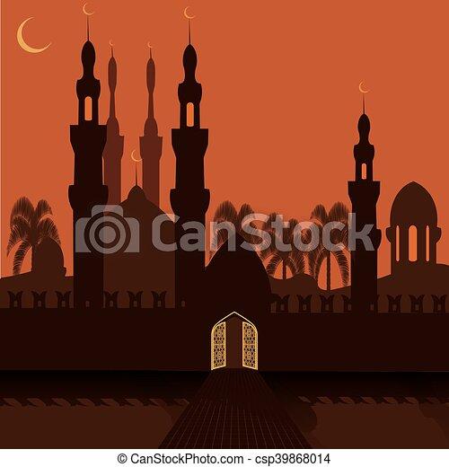 Doré, city., oriental, symbole., illustration, murs,... clipart ...