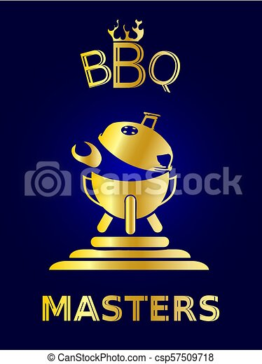 doré, concept, barbecue, icône - csp57509718