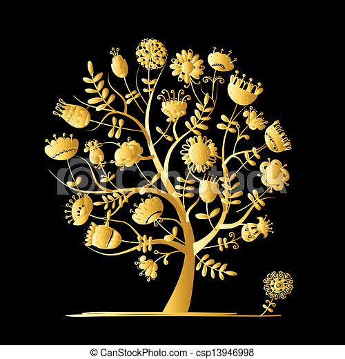 doré, conception, fleurs, arbre, ton - csp13946998