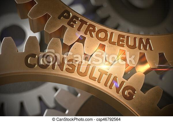 doré, consultant, illustration., concept., pétrole, gears., 3d - csp46792564