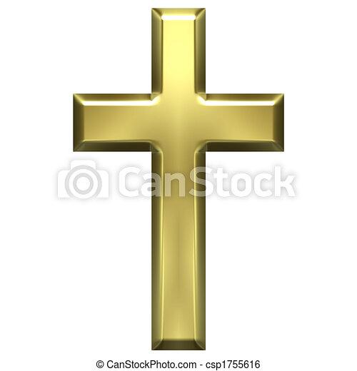 doré, croix - csp1755616
