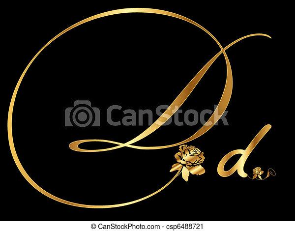 doré, d, lettre - csp6488721