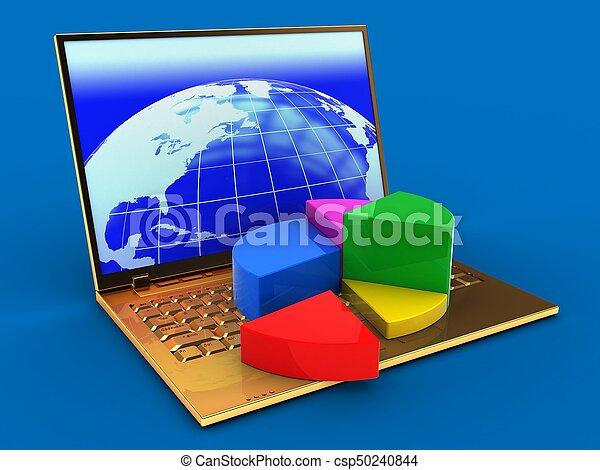 doré, diagramme, tarte, diagramme, informatique, 3d - csp50240844