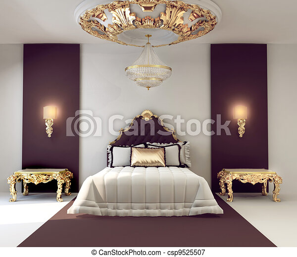 Doré, double, royal, luxe, chambre à coucher, intérieur, meubles.