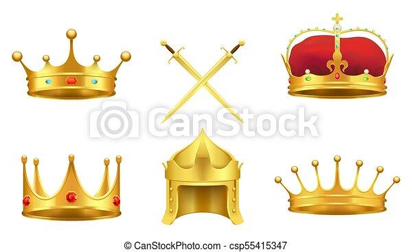 Dore Ensemble Moyen Age Icones Symboles Realiste Vecteur Dore