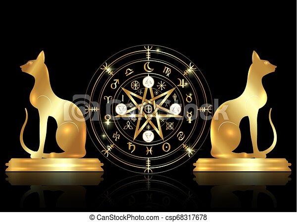 doré, ensemble, vieux, mystique, année, la terre, mandala, signes, divination., symboles, ancien, runes, isolé, astrologique, roue, wicca, symbole, chats, occulte, wiccan, protection., vecteur, sorcières, zodiaque - csp68317678