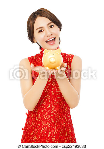 doré, femme, chinois, jeune, porcin, tenue, année, nouveau, banque, heureux - csp22493038