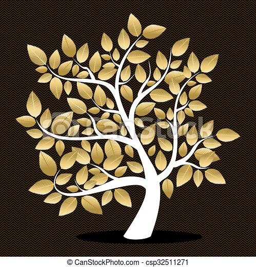 doré, feuille, silhouette, arbre, automne - csp32511271