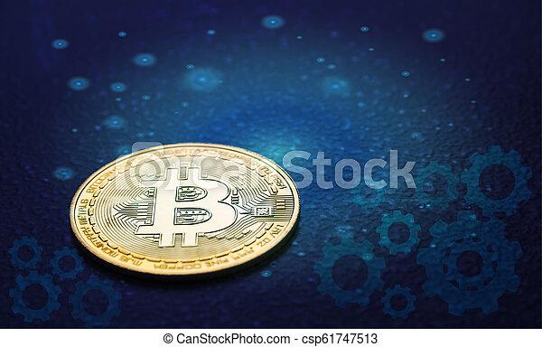 doré, financier, concept., cryptocurrency, bitcoin., technologie - csp61747513