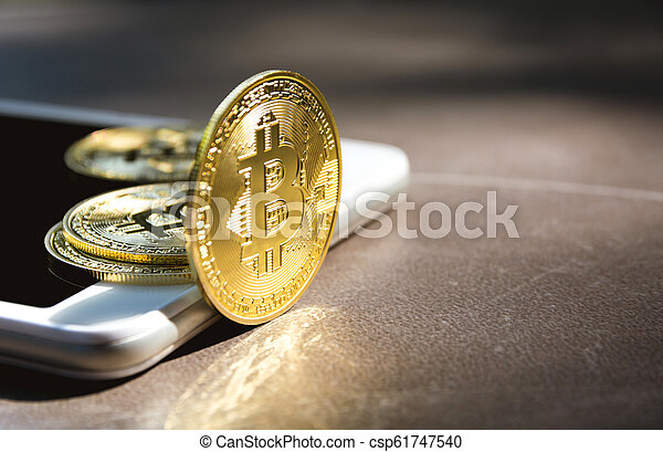 doré, financier, concept., cryptocurrency, bitcoin., technologie - csp61747540
