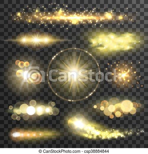 doré, flamme, effet, lentille, étoiles, scintillement - csp38884844