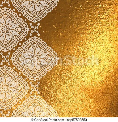 Fond Doré doré, fleuret, vecteur, ornement, fond. doré, gabarit, space., main