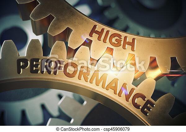 doré, illustration., élevé, performance, cogwheels., 3d - csp45906079