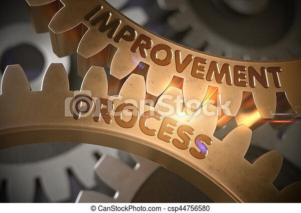 doré, illustration., processus, concept., amélioration, gears., 3d - csp44756580