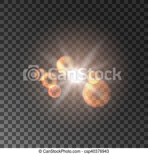 doré, lumière, tache, effet, fusée objectif - csp40376943