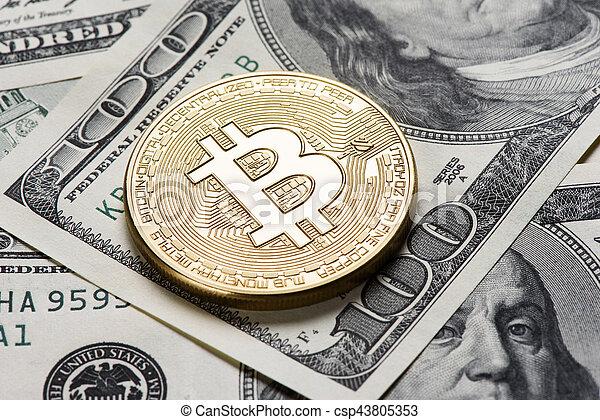 doré, monnaie, bitcoin - csp43805353