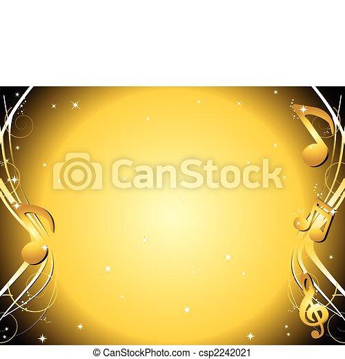 doré, notes, musique, fond - csp2242021