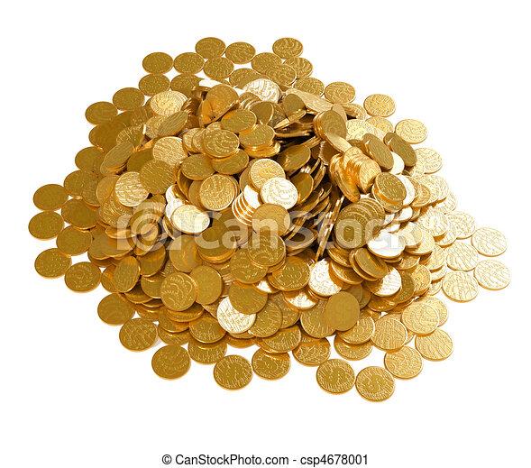 doré, pièces, argent., pile, sauver - csp4678001