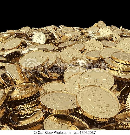 doré, pièces, bitcoin, balck - csp16982087