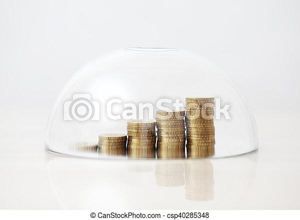 doré, pièces, levée, sous, verre - csp40285348