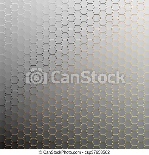 doré, résumé, light., arrière-plan., hexagones - csp37653562