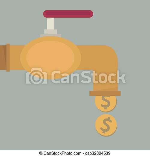 doré, robinet, plat, argent, pièces, conception, automne, dehors - csp32804539