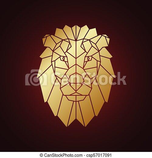 Doré Silhouette Isolé Sombre Arrière Plan Lion Géométrique