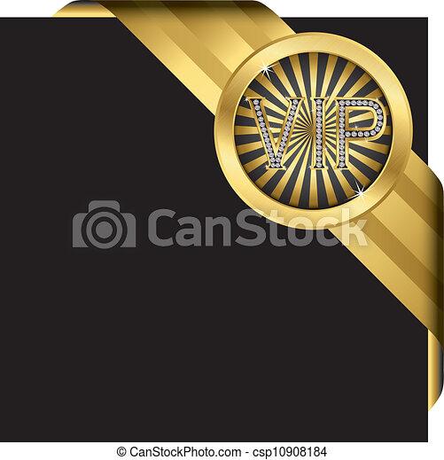doré, vecteur, étiquette, ruban - csp10908184