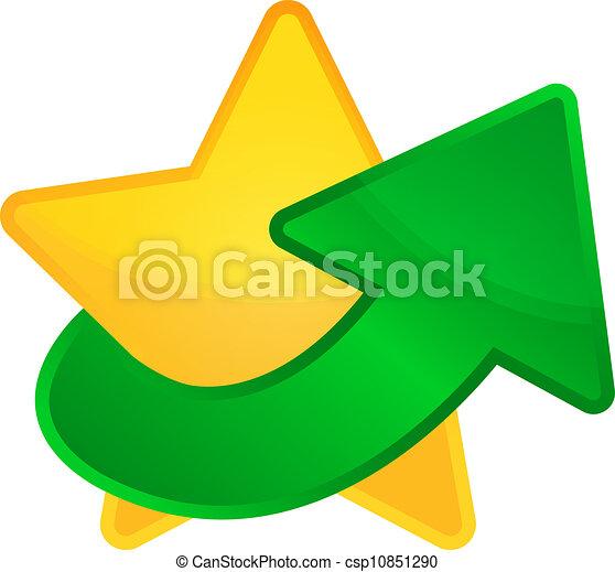 doré, vecteur, étoile, flèche ascendante - csp10851290