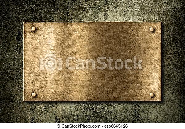 doré, vieux, plaque, mur, ou, bronze - csp8665126
