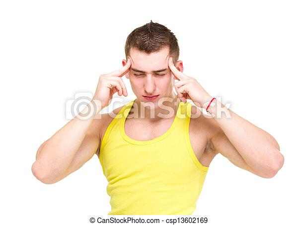 dor de cabeça, branca, homem, isolado, jovem - csp13602169