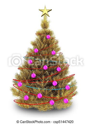 Dorado rbol navidad 3d Dorado encima rbol ilustracin