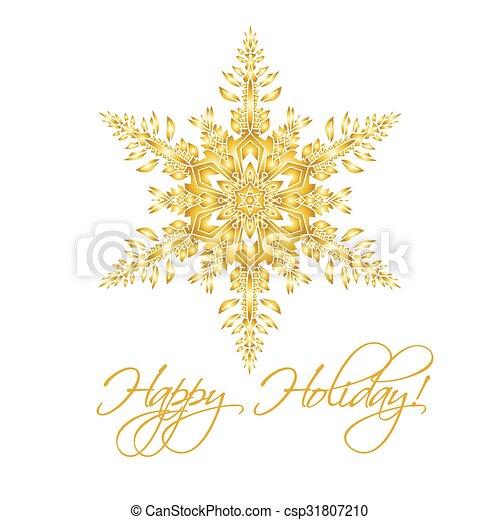 Antecedentes navideños con copos de nieve realistas hechos a mano aislados en color blanco y dorado. - csp31807210