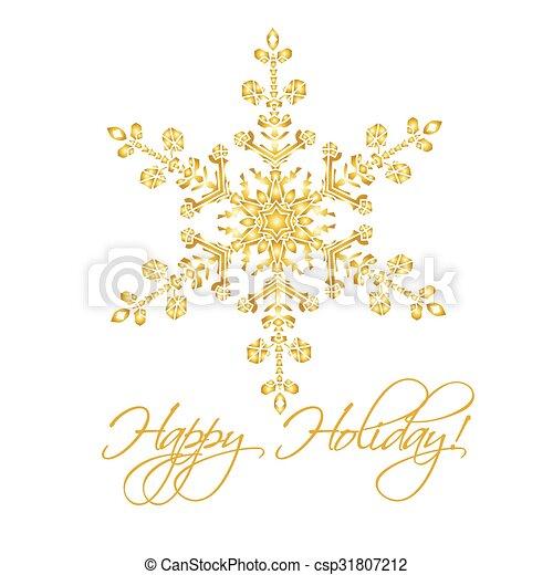 Antecedentes navideños con copos de nieve realistas hechos a mano aislados en color blanco y dorado. - csp31807212