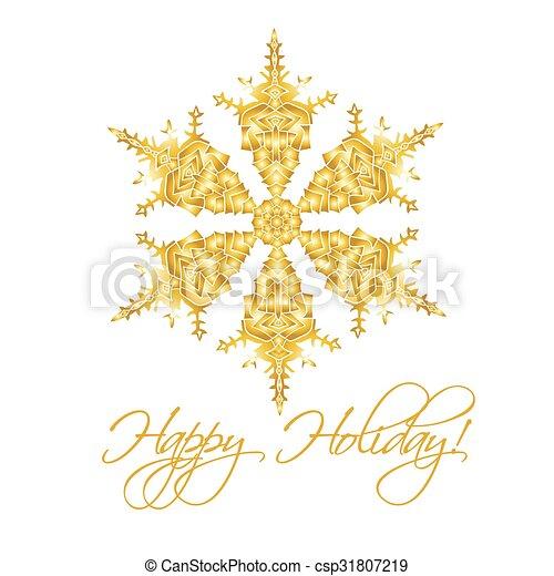 Antecedentes navideños con copos de nieve realistas hechos a mano aislados en color blanco y dorado. - csp31807219
