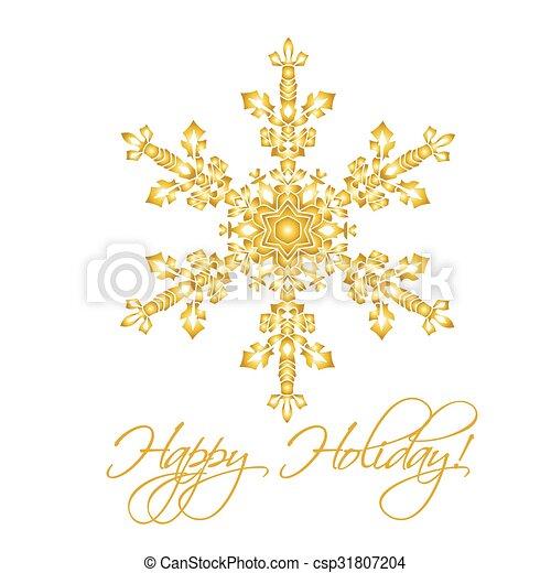 Antecedentes navideños con copos de nieve realistas hechos a mano aislados en color blanco y dorado. - csp31807204