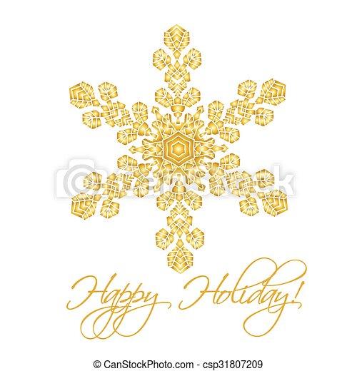Antecedentes navideños con copos de nieve realistas hechos a mano aislados en color blanco y dorado. - csp31807209