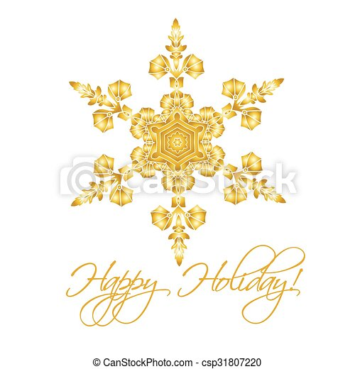Antecedentes navideños con copos de nieve realistas hechos a mano aislados en color blanco y dorado. - csp31807220