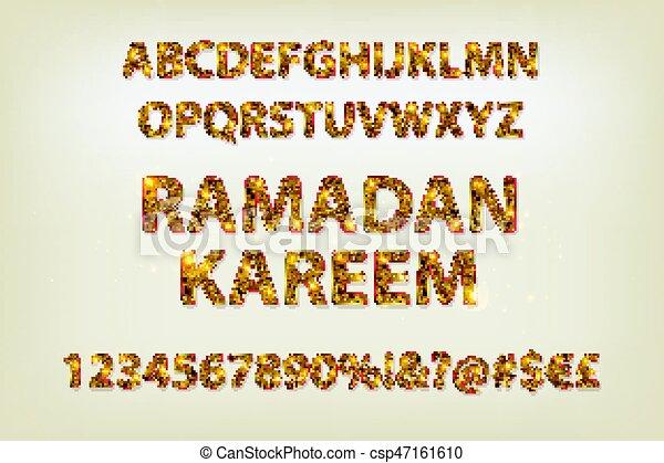 Cartas doradas y figuras del alfabeto inglés - csp47161610