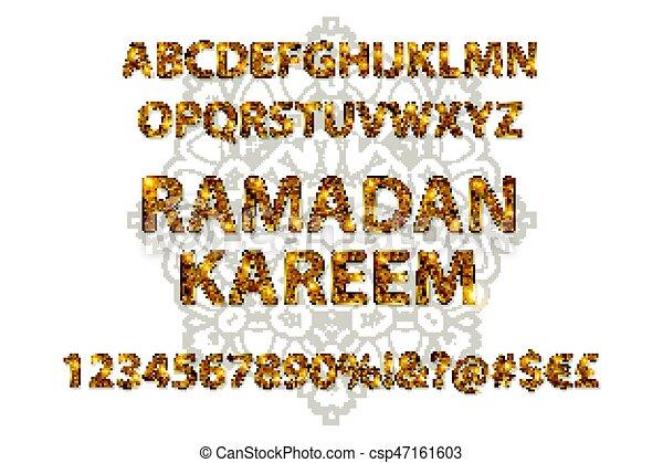 Cartas doradas y figuras del alfabeto inglés - csp47161603