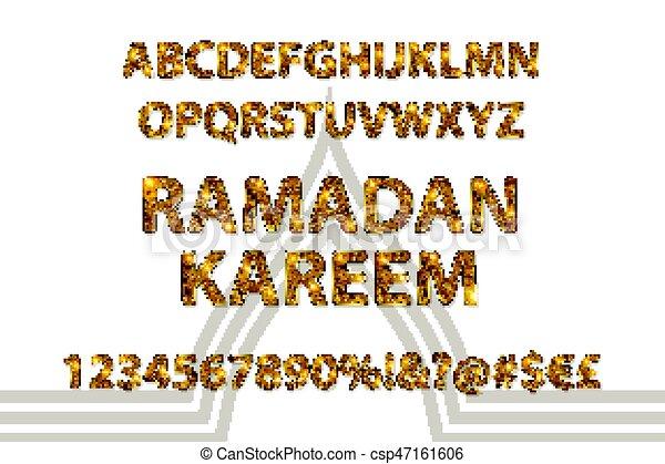 Cartas doradas y figuras del alfabeto inglés - csp47161606