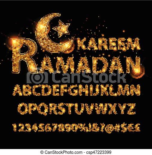 Cartas doradas y figuras del alfabeto inglés - csp47223399
