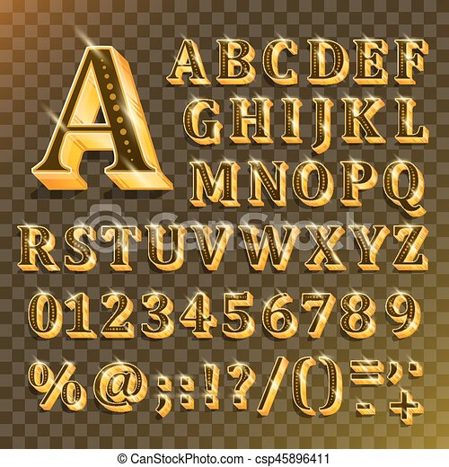 El alfabeto inglés dorado sobre fondo transparente. Ilustración de vectores - csp45896411