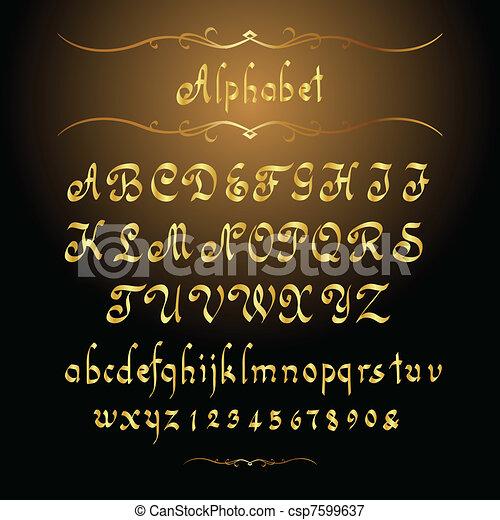 Alfabeto dorado - csp7599637