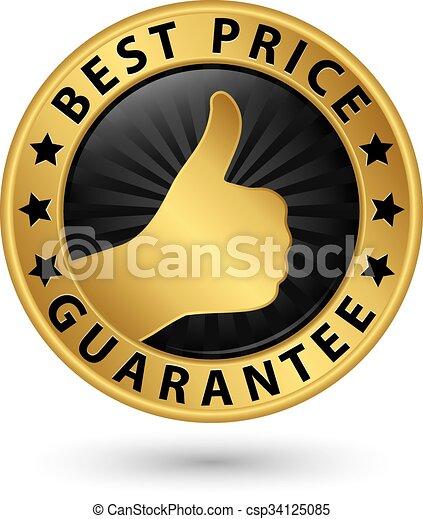 El mejor precio garantiza etiqueta dorada con pulgar arriba, ilustración vectorial - csp34125085