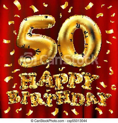 Vector Feliz Cumpleaños 50 Globos De Oro Y Purpurinas De