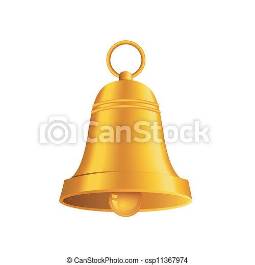Brillante campana de Navidad de oro - csp11367974
